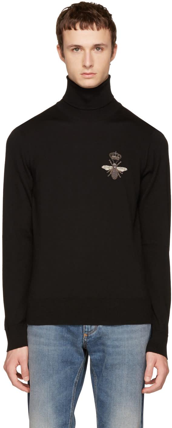 Image of Dolce and Gabbana Black Bee Turtleneck