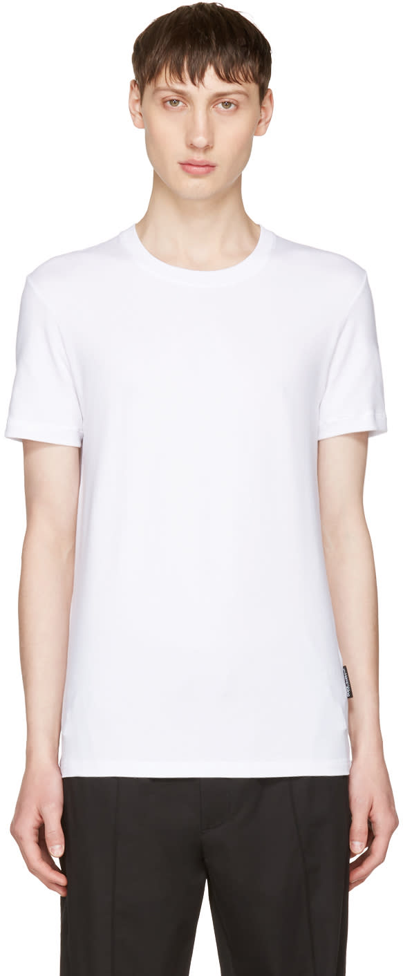 Dolce and Gabbana White Pure R-neck T-shirt