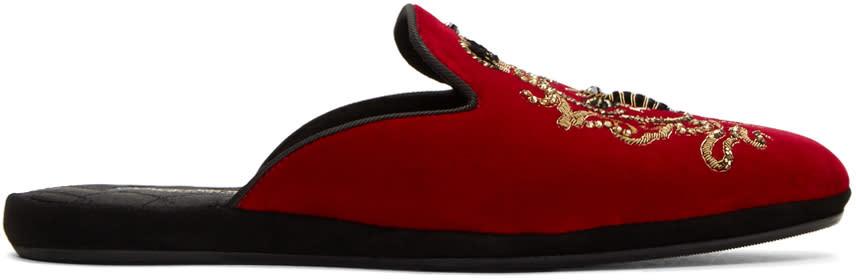 Dolce and Gabbana Red Embroidered Velvet Slippers