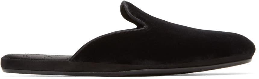 Dolce and Gabbana Black Velvet Slippers