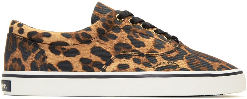 Dolce and Gabbana Brown Leopard Sneakers