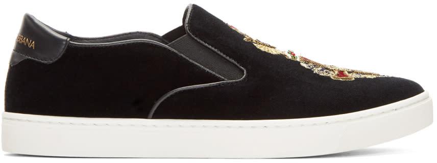 Dolce and Gabbana Black Velvet Crest Slip-on Sneakers