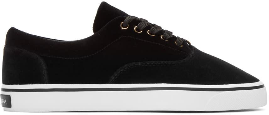 Dolce and Gabbana Black Velvet Sneakers