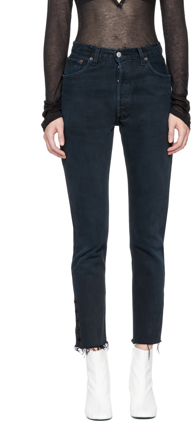 Image of Olivier Theyskens Black Re-done Levis Edition Tenim High-rise Ankle Crop Jeans