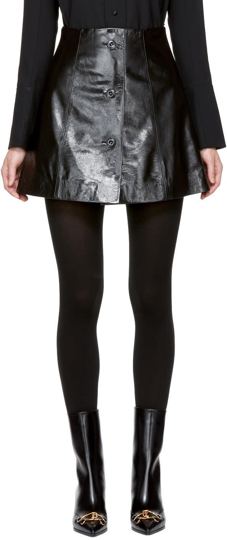 Image of Olivier Theyskens Black Leather Nirror Miniskirt