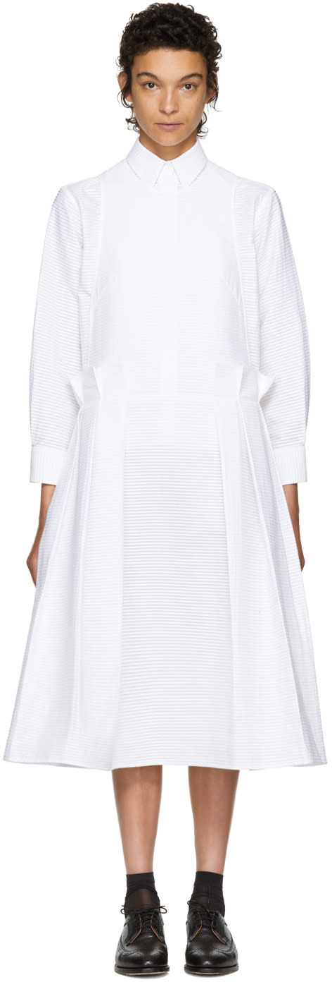 Image of Roberts | Wood White Pleated Apron Dress
