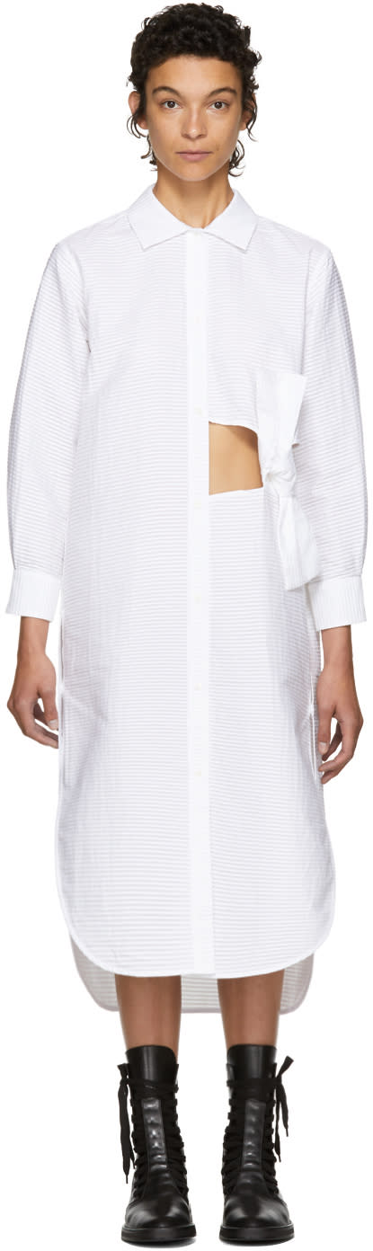 Image of Roberts | Wood White Pleated Bow Shirt Dress