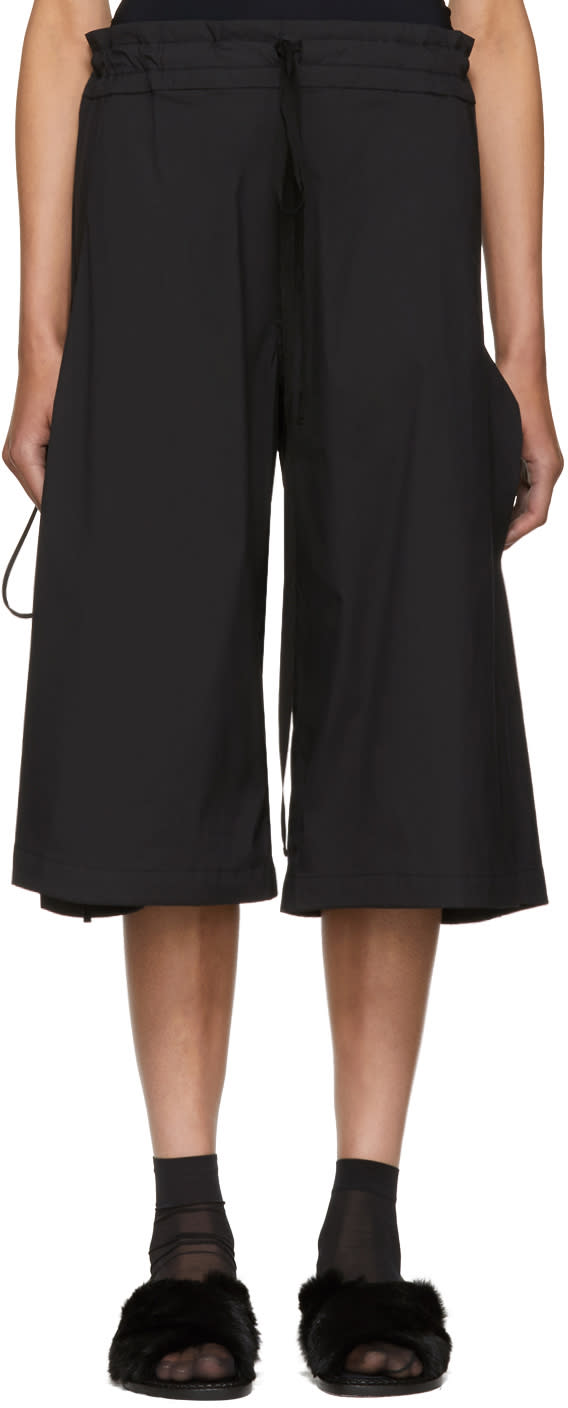Image of Roberts | Wood Black Wide-leg Side Tie Trousers