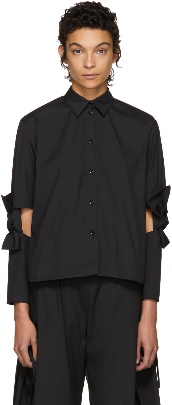 Image of Roberts | Wood Black Cut-out Bows Short Shirt