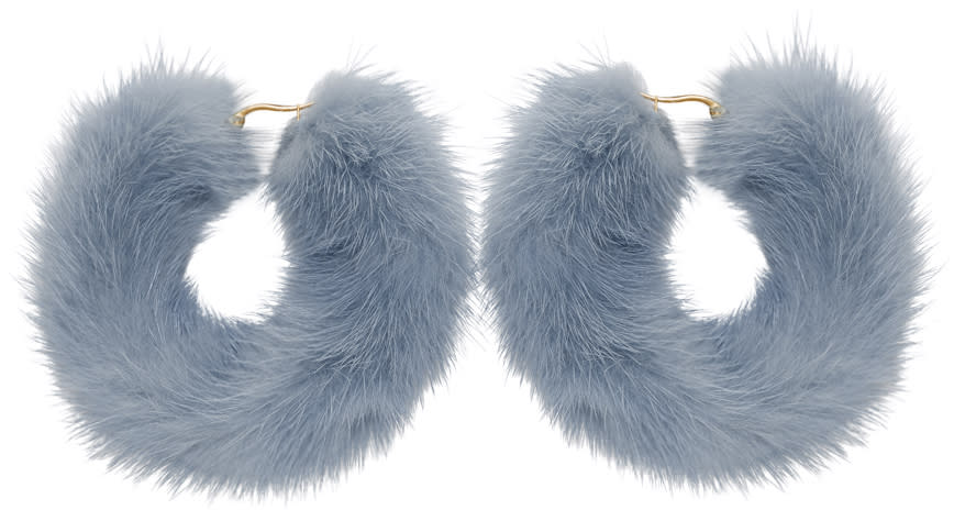 Image of Wild And Woolly Blue Mink Hoop Earrings