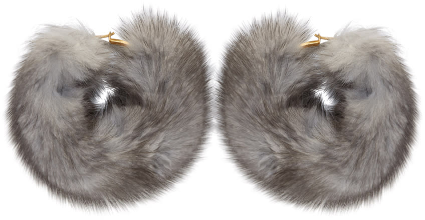 Image of Wild And Woolly Grey Mink Hoop Earrings