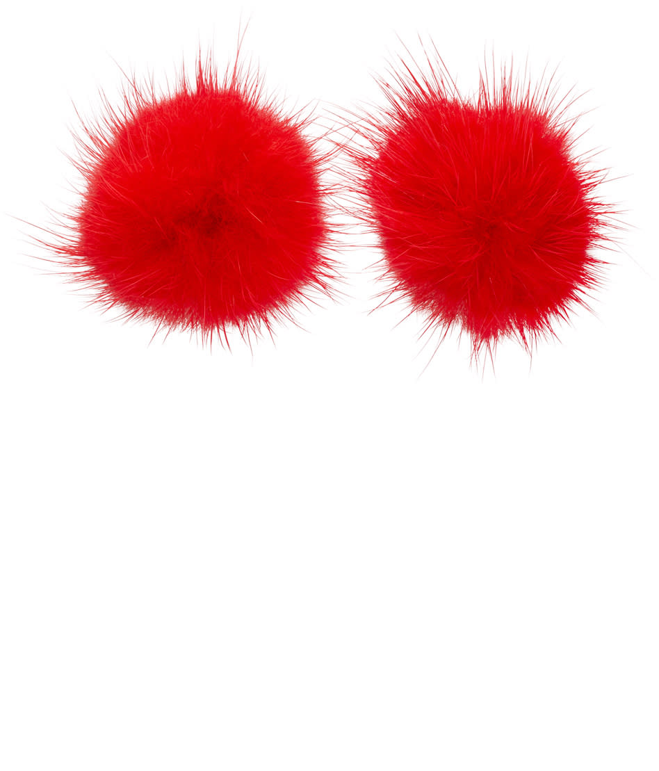 Image of Wild And Woolly Red Mink Puff Ball Earrings