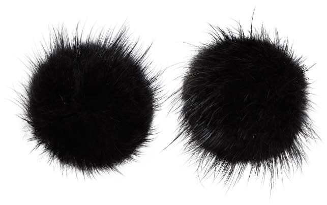 Image of Wild And Woolly Black Mink Puff Ball Earrings