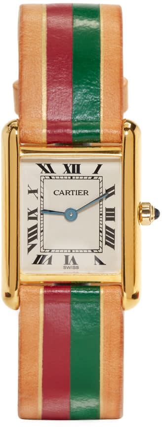 Image of Lacalifornienne Red and Green Small Cartier Tank Watch