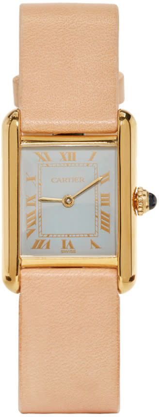 Image of Lacalifornienne Tan Small Cartier Tank Watch