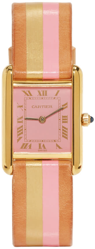 Image of Lacalifornienne Pink and Gold Small Cartier Tank Watch