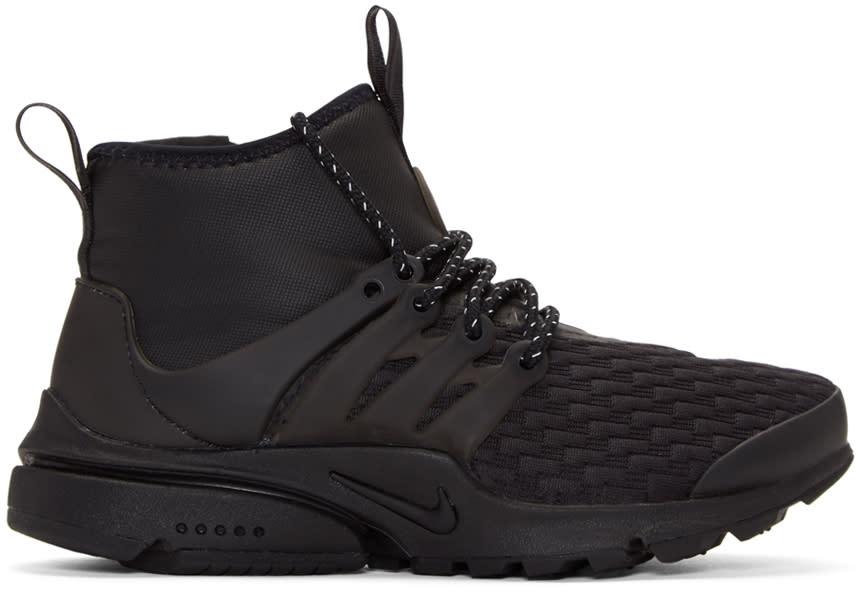 Image of Nike Black Air Presto Mid Utility Premium Sneakers