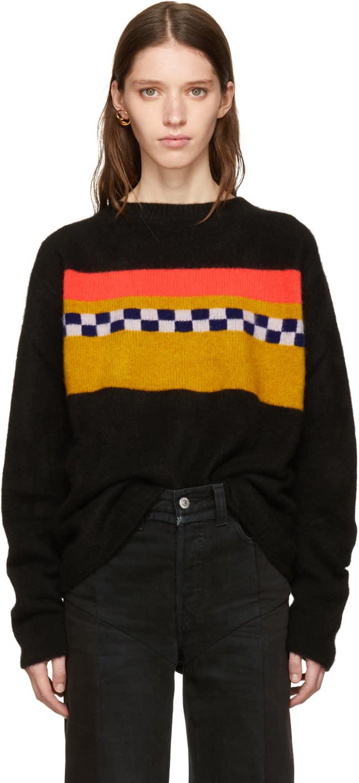 Image of The Elder Statesman Black Cashmere Gofa Stripe Sweater