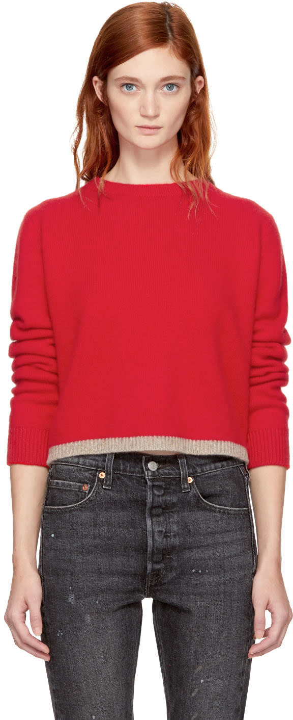 Image of The Elder Statesman Red Cropped Cashmere Simple Line Sweater