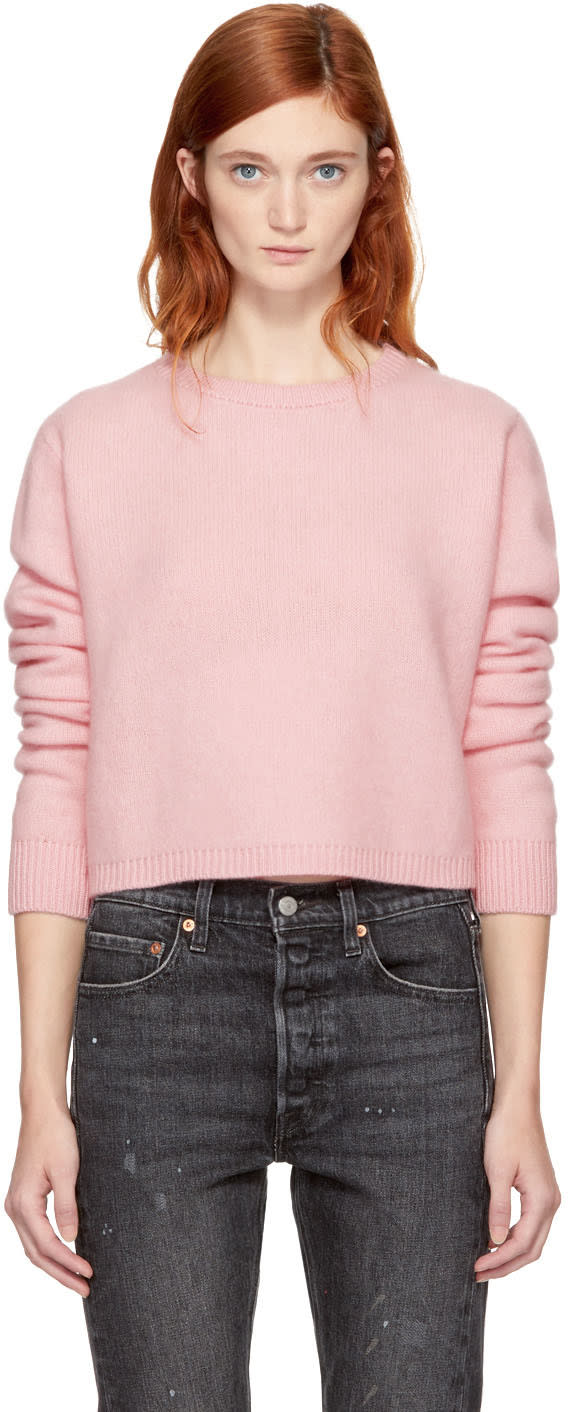 Image of The Elder Statesman Pink Cropped Cashmere Simple Sweater