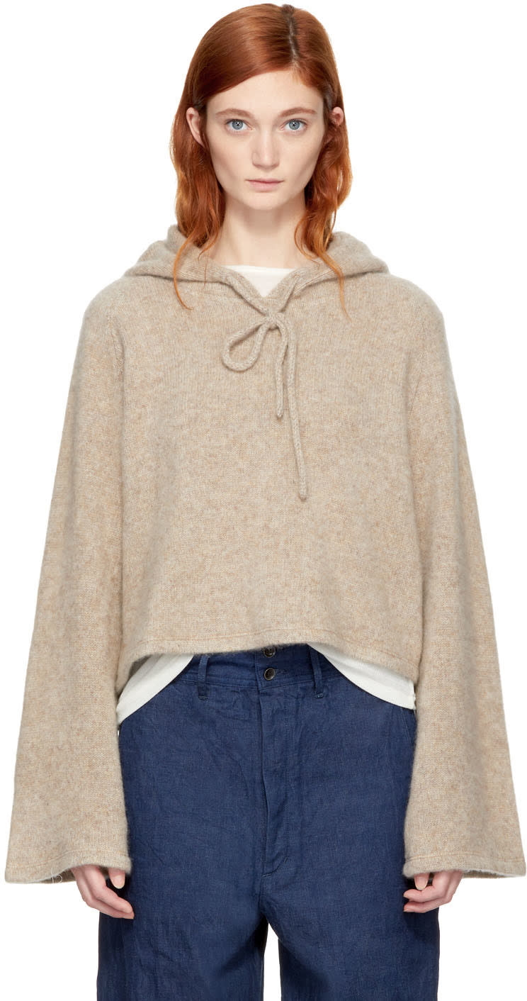 Image of The Elder Statesman Beige Cropped Cashmere Hoodie
