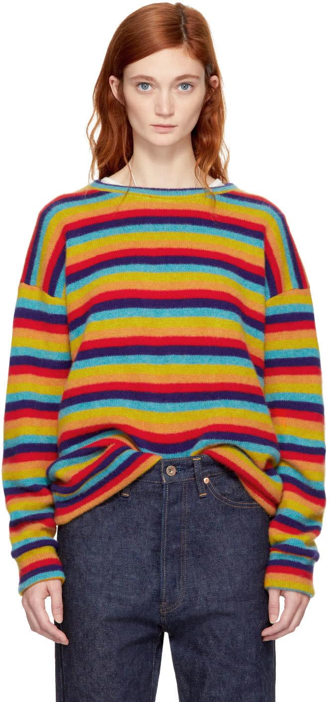 Image of The Elder Statesman Multicolor Cashmere Sunset Stripe Sweater