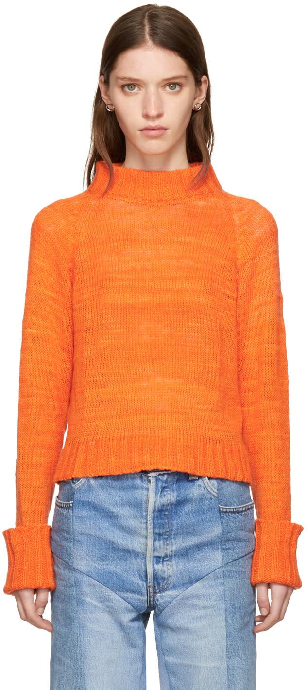 Image of The Elder Statesman Orange Cashmere Cropped Mock Neck Sweater