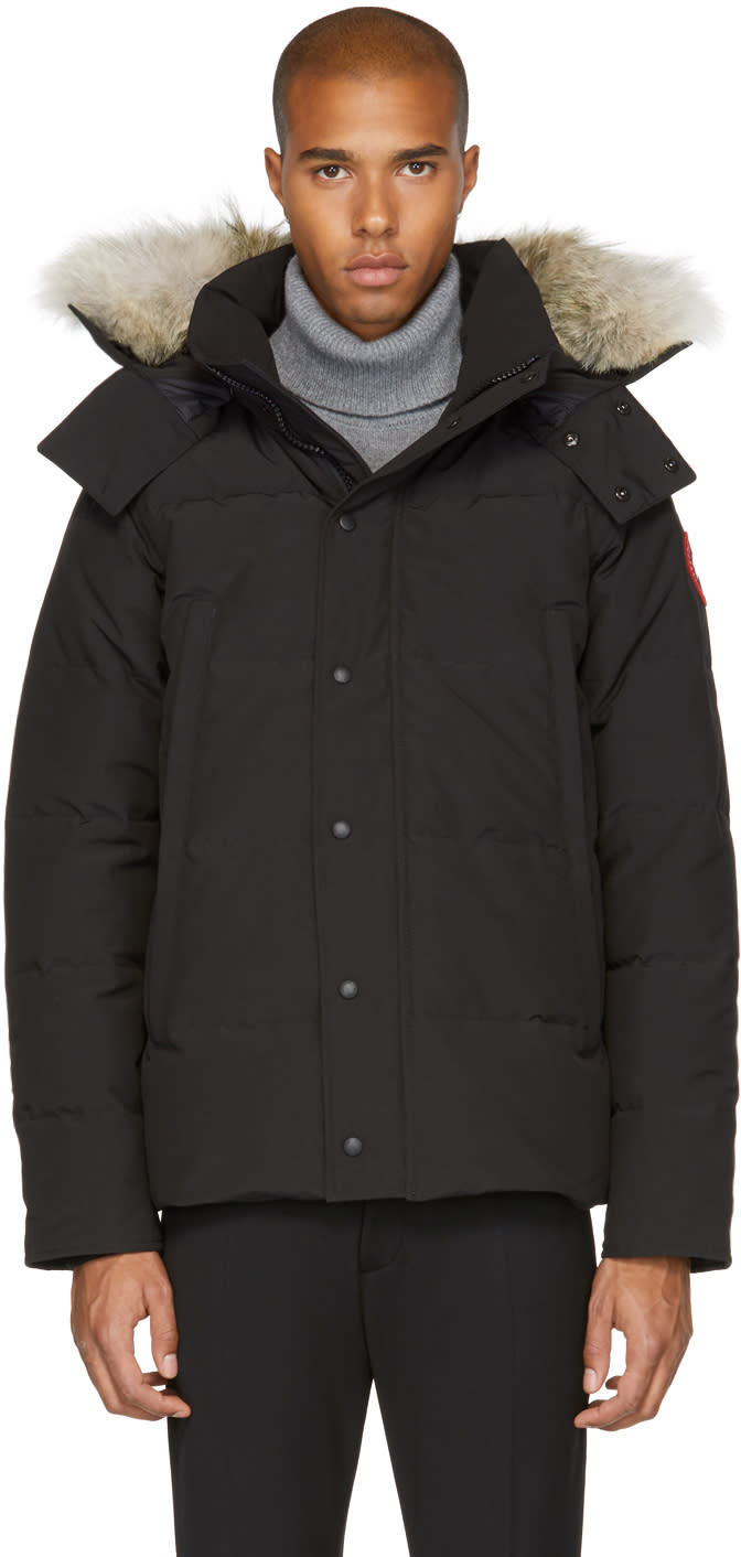Image of Canada Goose Black Down and Fur Wyndham Jacket