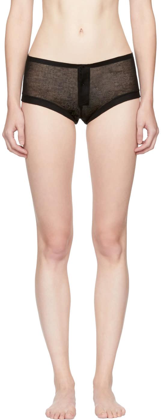 Image of Kiki De Montparnasse Black Ribbed Jersey Boy Shorts
