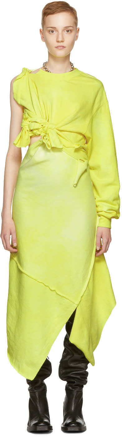 Image of Ottolinger Yellow One-shoulder Tied Dress