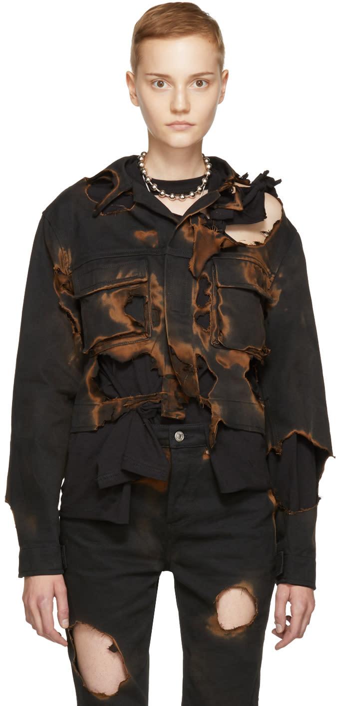 Image of Ottolinger Black Burned Holes Denim Jacket