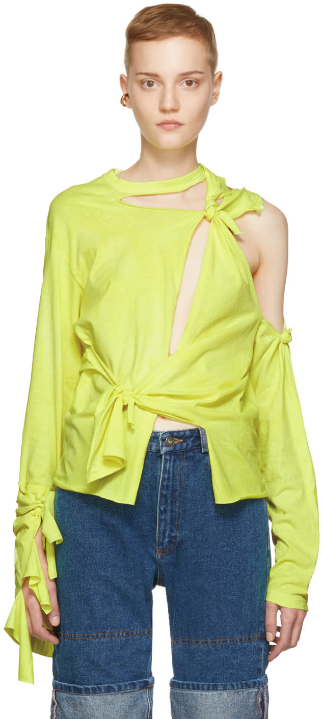 Image of Ottolinger Yellow Long Sleeve Knotted T-shirt