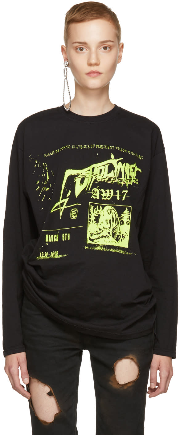 Image of Ottolinger Black Long Sleeve Neon Printed T-shirt