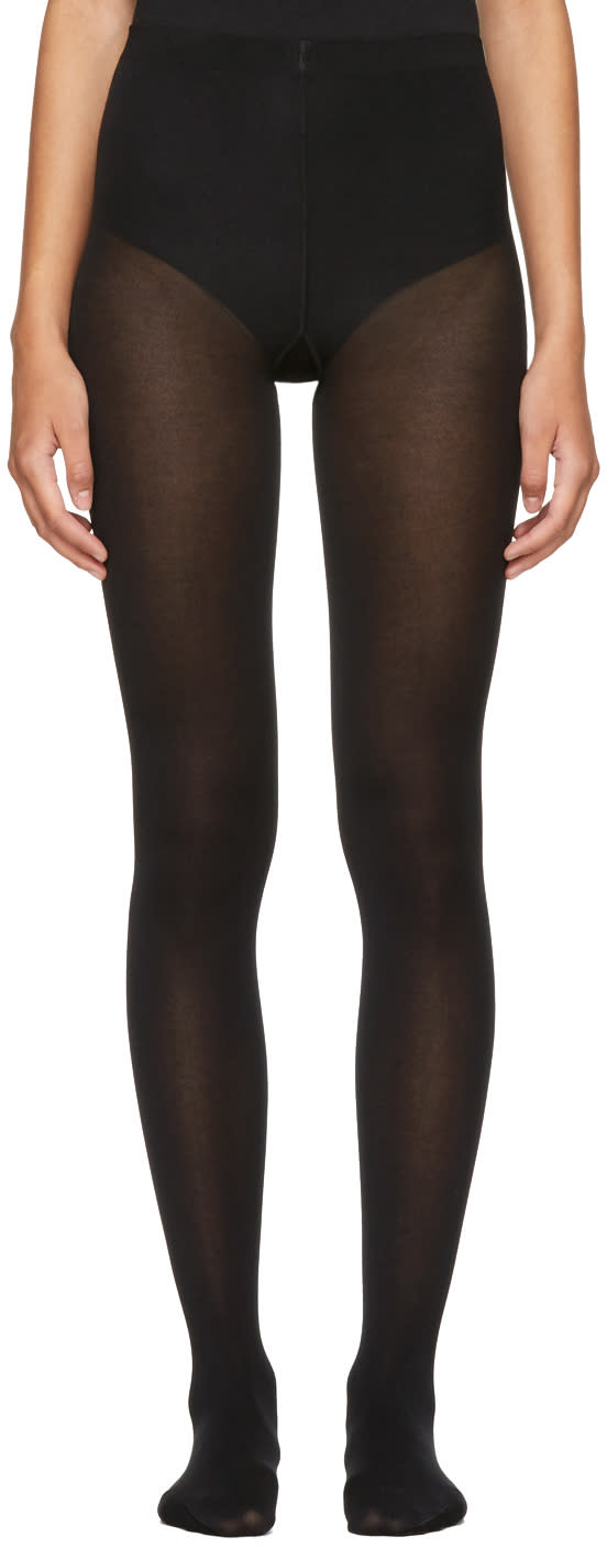 Image of Wolford Black Cotton Velvet Tights
