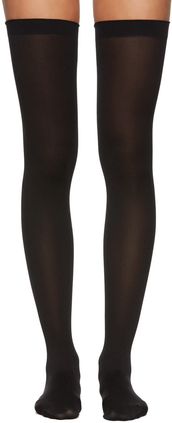 Image of Wolford Black Fatal 80 Seamless Stay-ups