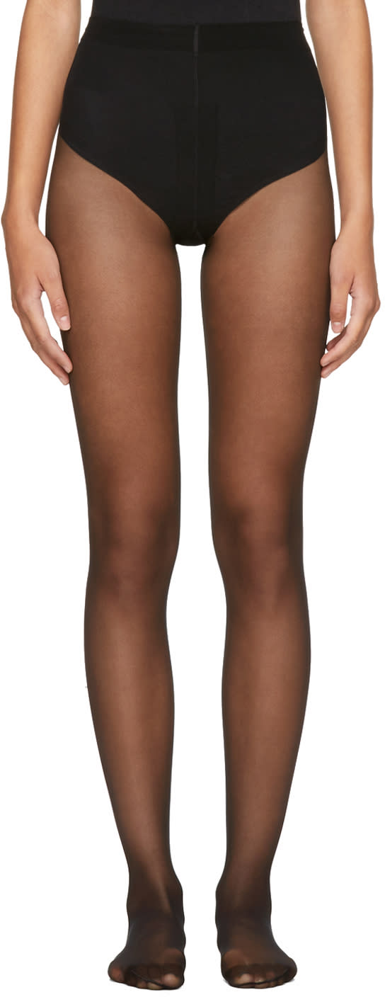 Image of Wolford Black Individual 10 Back Seam Tights