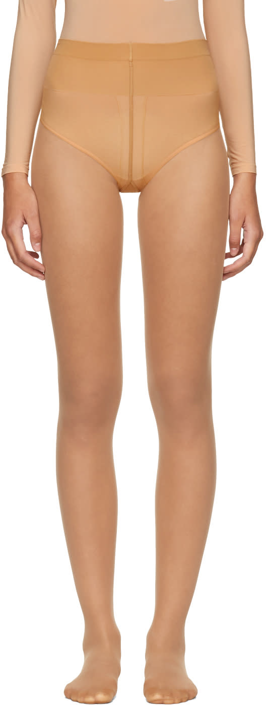 Image of Wolford Beige Individual 10 Back Seam Tights