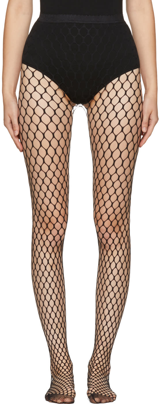 Image of Wolford Black Madeline Fishnet Tights