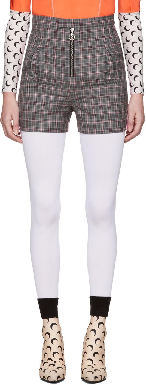 Image of Marine Serre Grey Plaid Zip Shorts