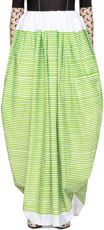 Image of Marine Serre White and Green Striped Ball Skirt