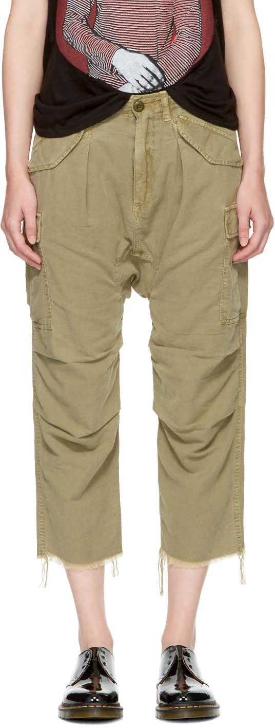R13 Pantalon Cargo En Chanvre Vert Harem