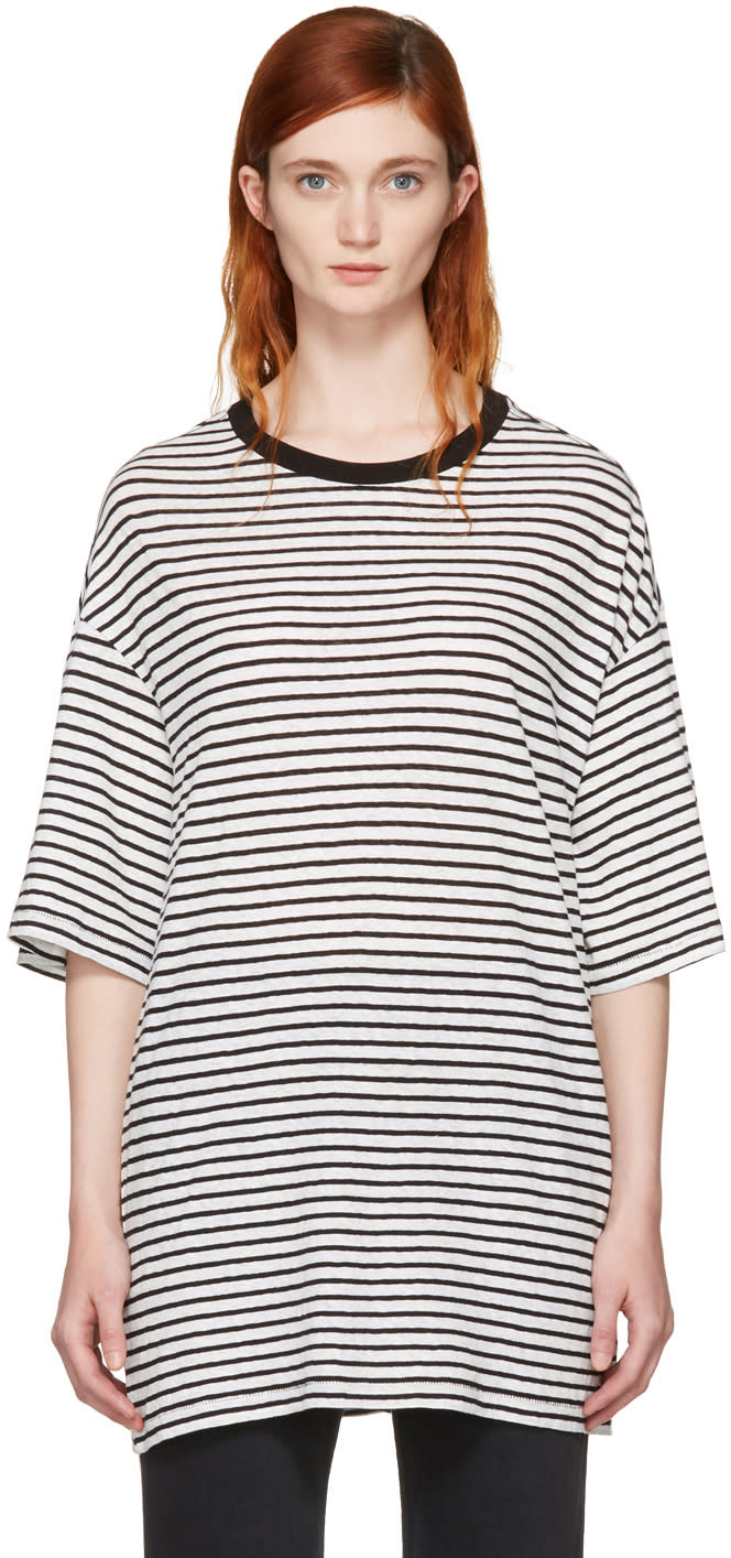 Image of R13 Black and White Striped Boyfriend T-shirt