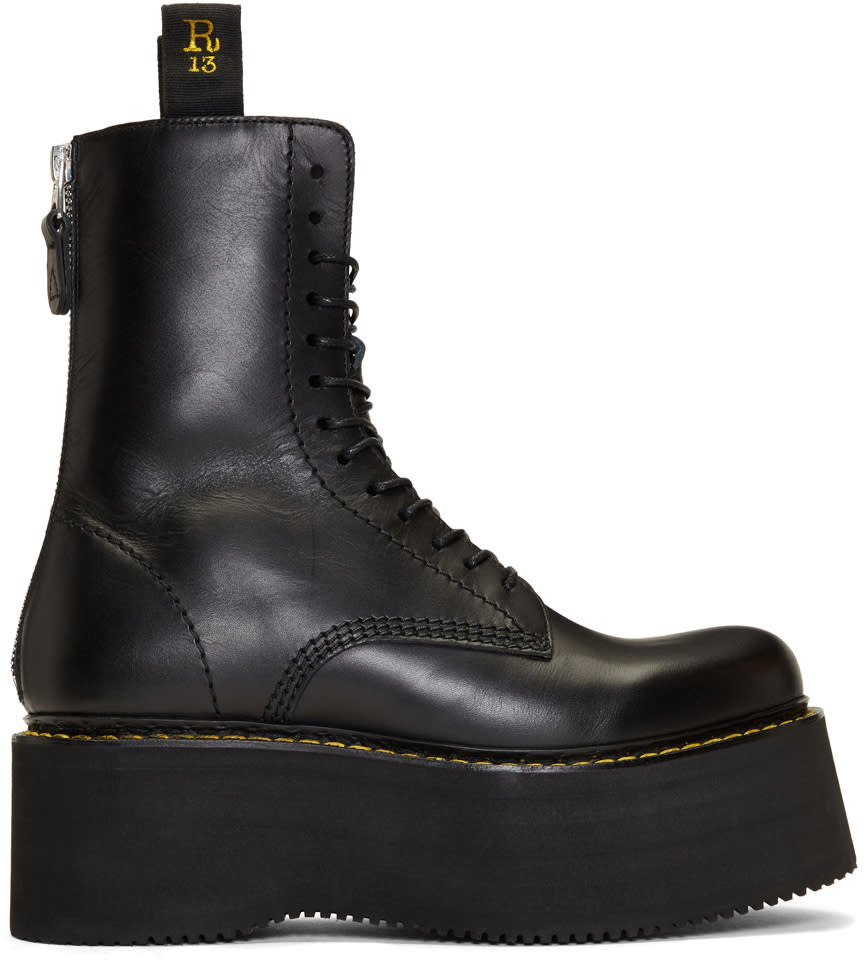 R13 Black X-stack Boots