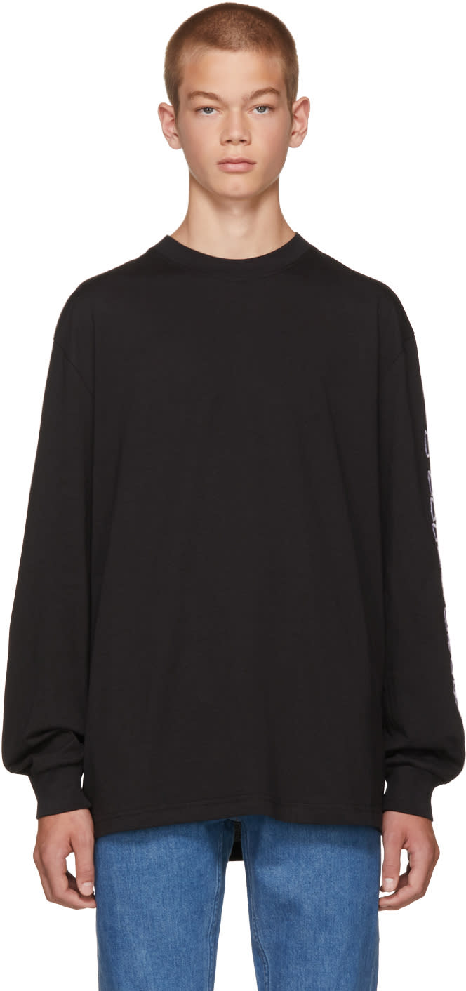 Image of Thames Black Long Sleeve Logo T-shirt