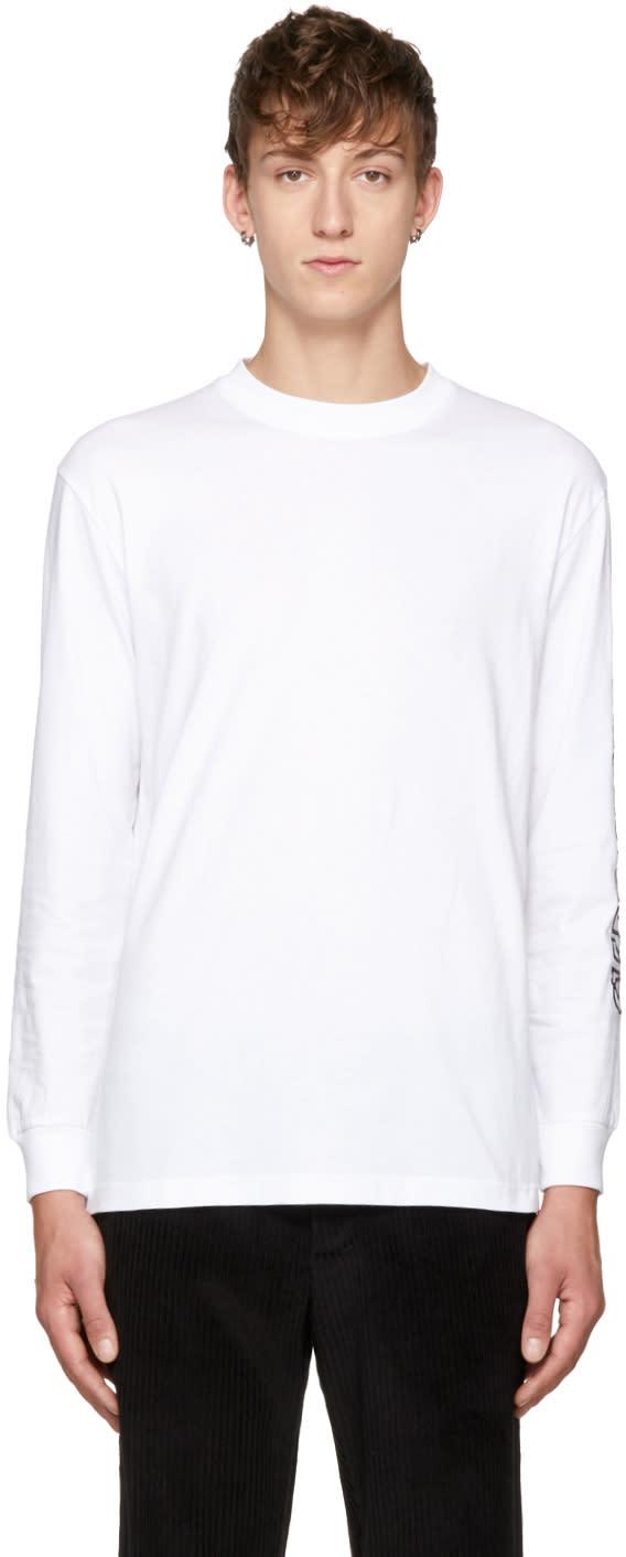 Image of Thames White Long Sleeve Logo T-shirt