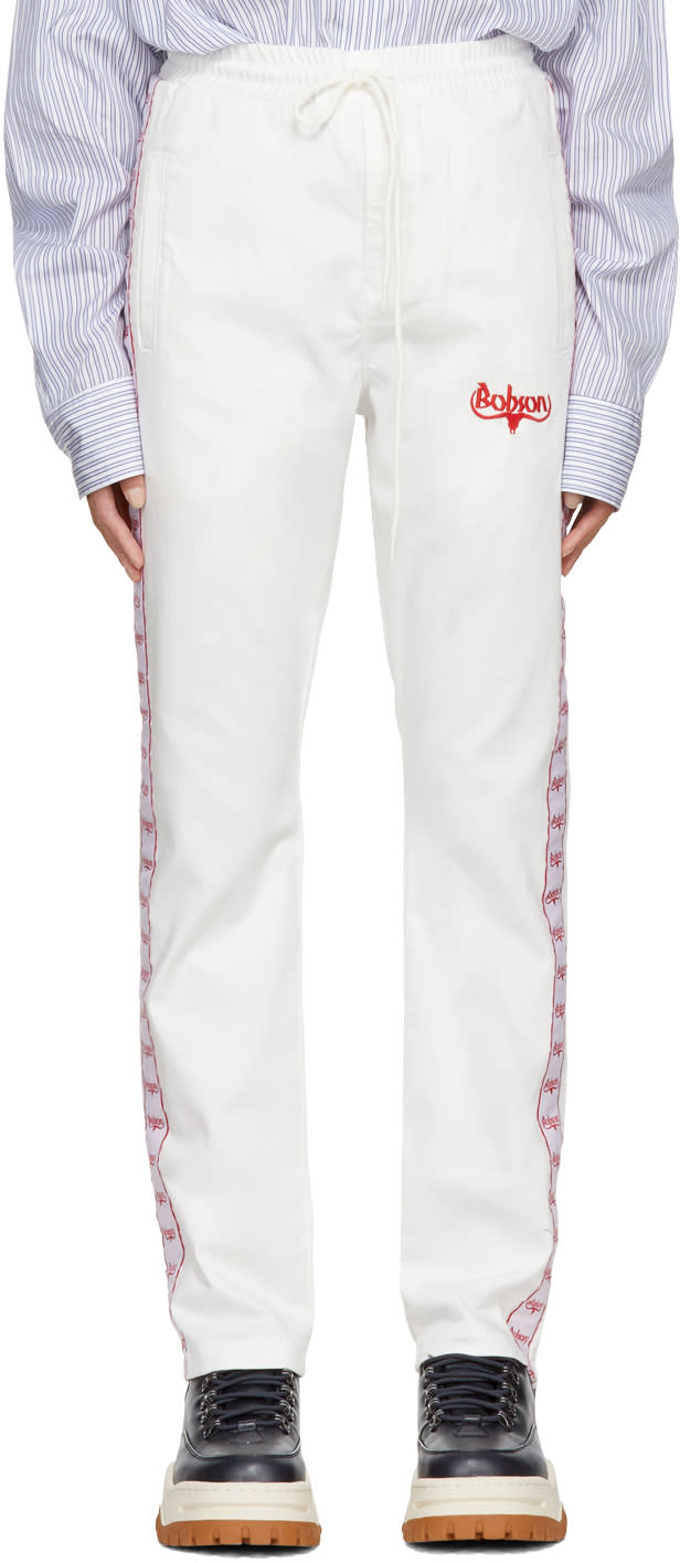 Image of Wheir Bobson White Denim Side Line Track Pants