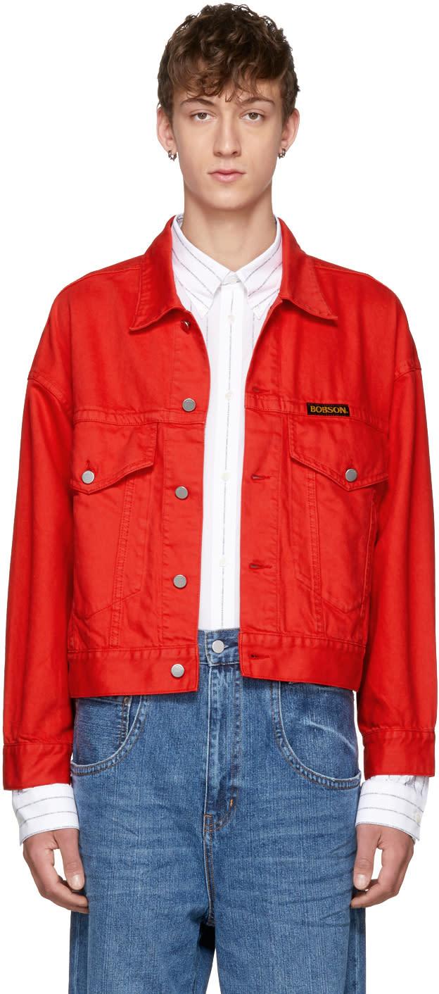 Image of Wheir Bobson Red Volume Jean Jacket