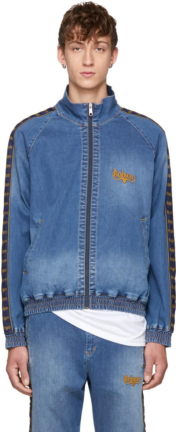 Image of Wheir Bobson Blue Denim Side Line Track Jacket