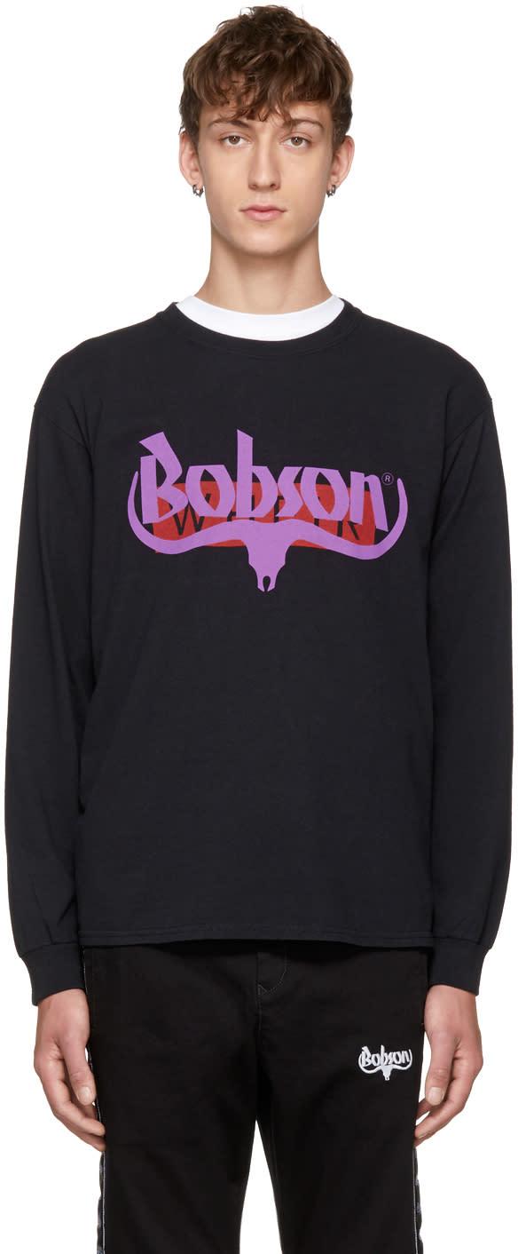 Image of Wheir Bobson Black Long Sleeve Logo T-shirt