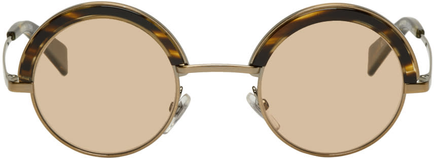 Image of Oliver Peoples Pour Alain Mikli Gold and Brown 4003n Sunglasses